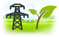 Illustration of a power line and a young sapling